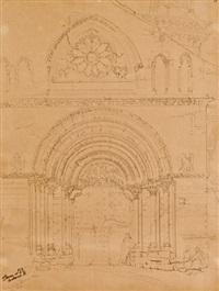 pórtico de la iglesia de san pedro en olite by genaro perez villaamil