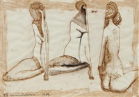 three nude studies by frederick edward mcwilliam