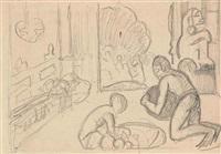 scène d'intérieur tahitienne à l'idole by paul gauguin