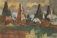 oil rigs near baku by anna petrovna ostroumova-lebedeva