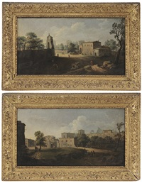 figures on a track outside a town gate; figures on a track with gated house (pair) by hendrick frans van lint