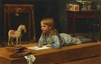 a young artist in sailor suit is painting his rocking horse by wilhelm pacht