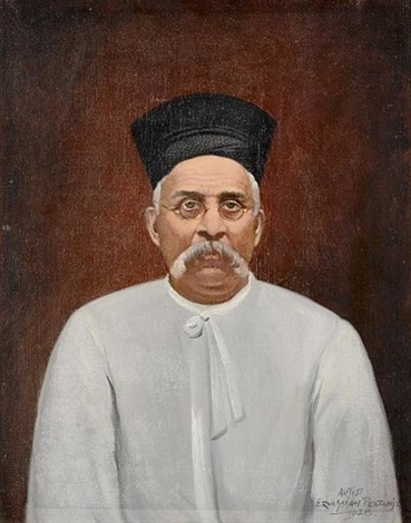 portrait of a parsi gentleman the sitters hat by eruchtshaw pestonji
