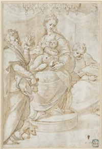 la sainte famille sous un dais avec saint antoine by orazio samacchini