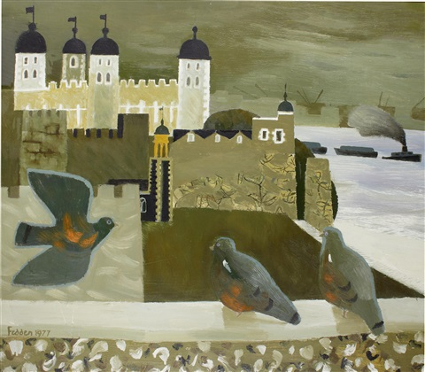 pigeons at tower bridge by mary fedden