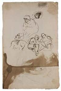 feuille d'études avec mephistophélès et autres personnages by eugène delacroix