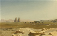 caravan passing the colossi of memnon, thebes by jean-léon gérôme