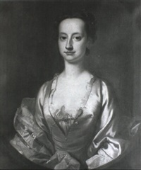 portrait of a lady, bust-length, wearing a white silk dress and a pink shawl by cotes