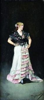 portrait de jeune femme en pied by manuel alcazar y ruiz