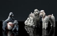 playful dogs, mother with pups, woolly dog (3 works) by lladró