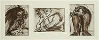 kader met drie portretten waaronder portret van ferre grignard by fred bervoets