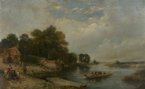 landscape with river and figures by henry john boddington