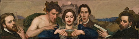 self portrait with ambrose patterson amy lambert and hugh ramsay by george lambert