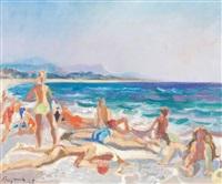 baigneurs sur la plage by jean claude aujame