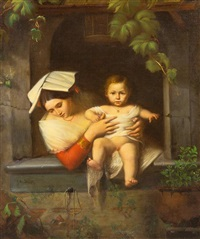 mother and child at a window by joseph magnus stack