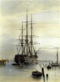 "h.m.s. ""victory"" moored in portsmouth harbour by frederick miller"