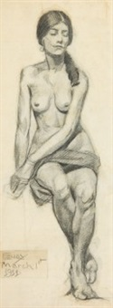 seated nude by albert françois fleury