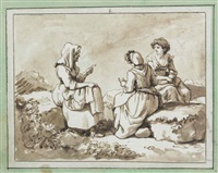 three peasant women seated in conversation in a rocky landscape by carlo labruzzi