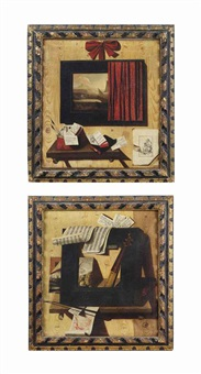 a trompe l'oeil of a picture frame, a painting, the neck of a viol... (+ a trompe l'oeil of a painting partly covered by a red curtain...; pair) by andrea domenico remps