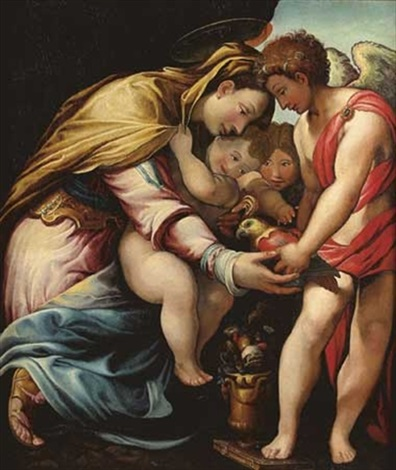 vierge à lenfant avec saint jean baptiste et un ange by giuseppe salviati porta
