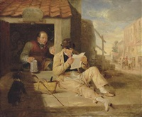 the cobblers: portrait of a man, reclining reading a newspaper by a cobblers by sir william allan