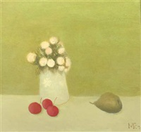 a still life with flowers in a vase, cherries and a pear by metten koornstra