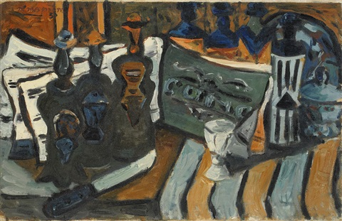 still life with bottles and sheet music by endre nemes