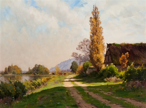 path along the waters edge by adrien jacques sauzay