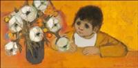 lapsi ja kukkia maljakossa by christina snellman