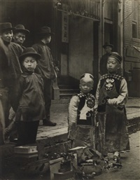 chinese new year, old chinatown, san francisco (+ street scene, chinatown; 2 works) by arnold genthe