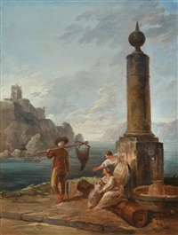 hafenszene (scène de port) by hubert robert