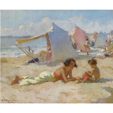 playing on the beach by charles garabed atamian