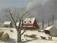 sleighs arriving at the inn by george henry durrie