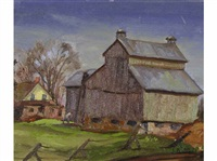 untitled - farmyard (+ untitled - mountain tops; 2 works) by john byrne