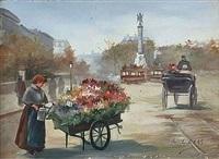 paris, marchands de fleurs et passants sous la pluie by le bas