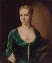 portrait of a lady in a blue dress and wrap by john theodore heins sr.