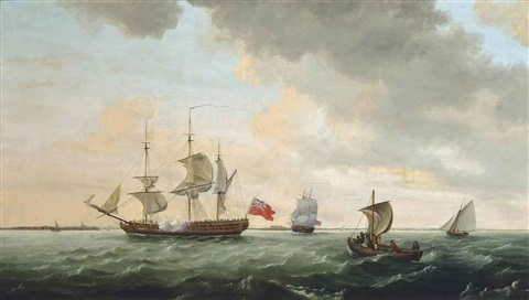 a royal navy frigate anchored off harwich and preparing to get underway, with another frigate and coastal craft astern of her by thomas luny