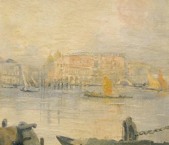 venezia gondole e vele sul canale by gennaro favai