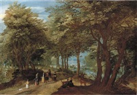 a wooded landscape with an amorous couple seated by a tree and elegant company strolling on a path near a river by denis van alsloot