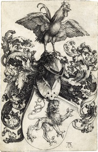 coat of arms with a lion and a cock by albrecht dürer