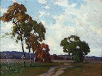 autumn landscape by frank charles peyraud
