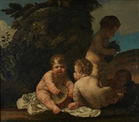 putti au tambourin et grappe de raisins by giulio carpioni
