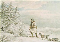 siberian exile shooting a black fox by john augustus atkinson