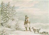 siberian exile shooting a black fox by john augustus atkinson