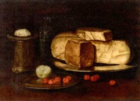a large gouda, cherries, half an apple and a pot on a table by paul karslake