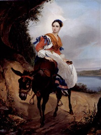 portrait of olga ferzen on a donkey by karl pavlovich bryullov