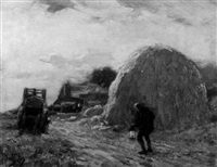 the haystack, evening by frederick-davenport bates
