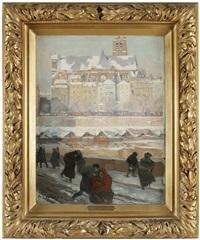 paris, l'église saint-gervais-saint-protais et la seine en hiver by auguste louis lepère