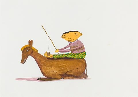 boy and donkey by os gemeos
