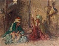 jeunes berbères dans un intérieur by edouard verschaffelt